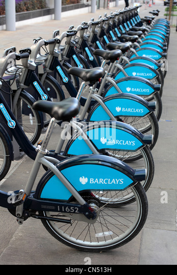 Blue bikes in central London sponsored by Barclays bank and introduced by Mayor Boris Johnson - Stock Image