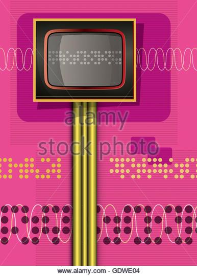 Retro computer console data digital illustration - Stock Image