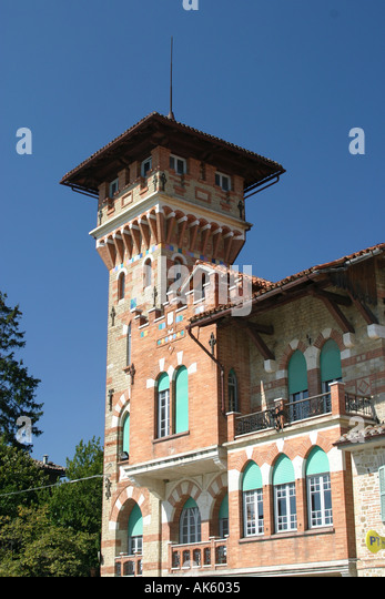 The colorful tower on a House in Force ,a market town in the Le Marche, Italy - Stock Image