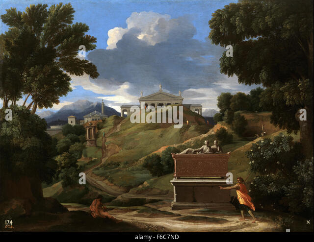 Nicolas Poussin - Landscape with Antique Tomb and Two Figures - Stock Image
