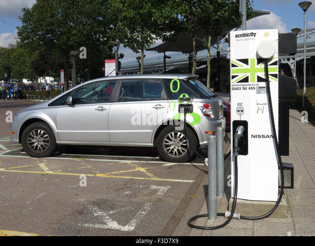 Electric Car Charging Point at South Mimms Motorway Services on the M25 - Stock Image
