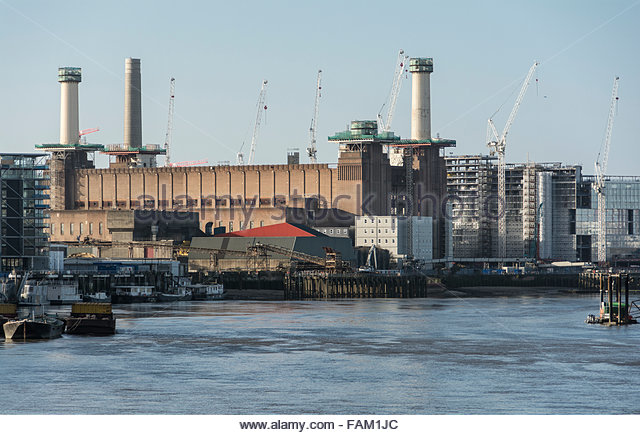 Cranes surround The redevelopment of Battersea Power Station in London, UK - Stock Image