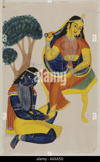 Krishna Kneeling at Rada's Feet. Calcutta, India, 1880. - Stock Image