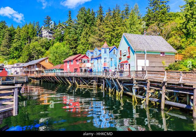 Ketchikan, Alaska. Creek Street, the historic broadwalk. - Stock Image