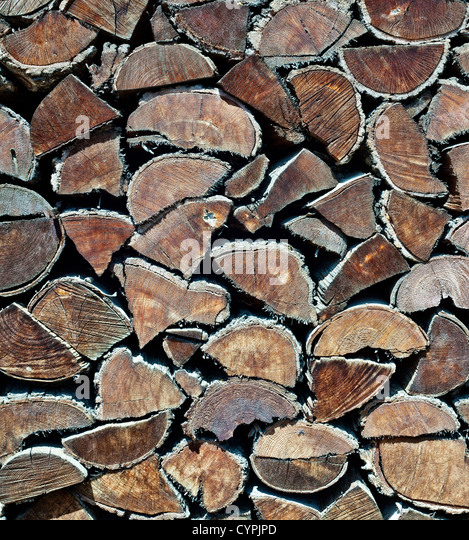 old stack of firewood texture - Stock Image