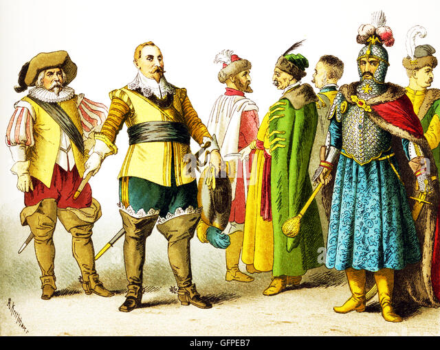 The figures shown here represent, from left to right, are: a Swede, Gustavus Adolphus (died 1632), three Poles, - Stock Image