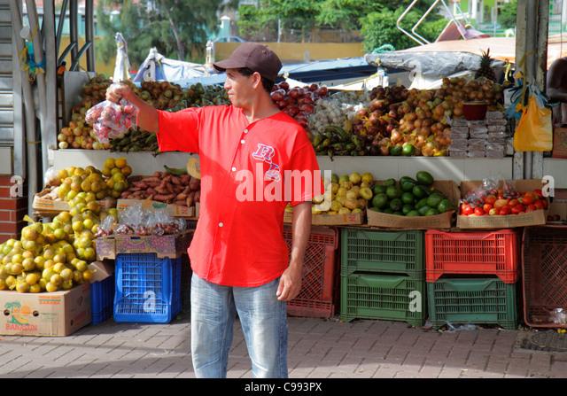 Curaçao Netherlands Antilles Dutch Willemstad Punda Sha Caprileskade Floating Market shopping produce vendor - Stock Image