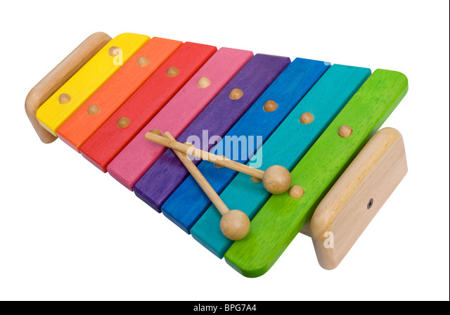 Wooden Rainbow Xylophone Sticks ~ Percussion stock photos images alamy
