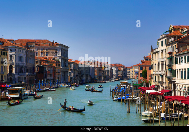 Italy, Europe, travel, Venice, Canal Grande, boats, gondola, tourism, Unesco, - Stock-Bilder