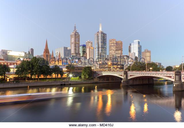Long exposure of skyline and Princes bridge, Melbourne, Victoria, Australia - Stock Image