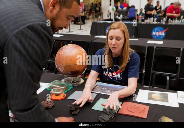 NASA planetary scientist presenting Mars science - USA - Stock Image