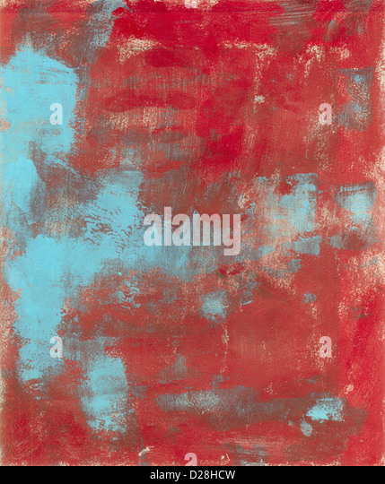 Abstract painting with red with cyan. - Stock Image