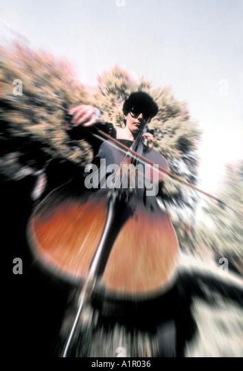 Music Woman playing Cello - Stock-Bilder