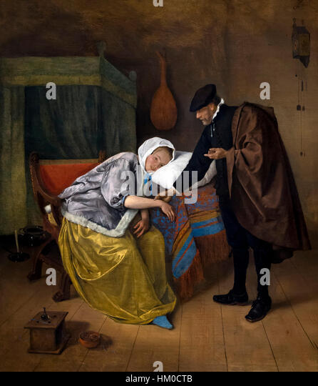 The Sick Woman, by Jan Steen, circa 1663-6, oil on canvas, Rijksmuseum, Amsterdam, Netherlands, Europe, - Stock Image