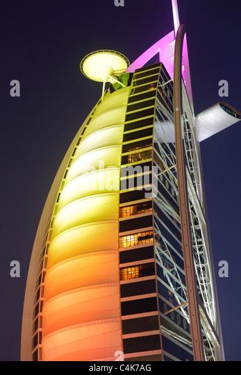 Burj Al Arab hotel at dusk, Dubai, United Arab Emirates ( UAE ) - Stock-Bilder