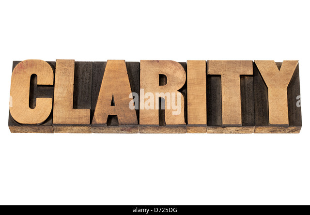 clarity word - isolated text in vintage letterpress wood type printing blocks - Stock Image