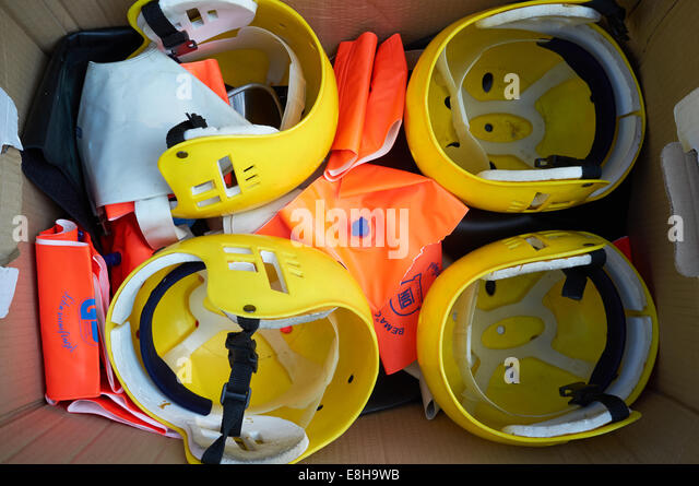 Box of canoeing gear - Stock Image