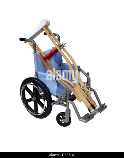 Crutches and wheelchair used for assistance in personal transportation when ambulatory methods are unavailable  - Stock Image