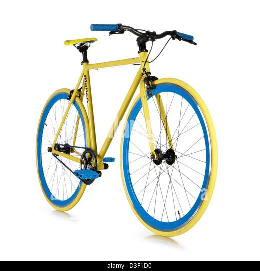 Single speed bicycle yellow blue custom build - Stock Image