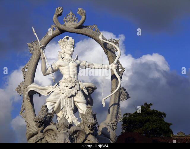 Arjuna statue in Ubud town. Bali, Indonesia - Stock Image