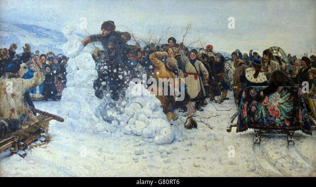 Taking the Snow Fortress by Storm, by Vasili Ivanovich Surikov, 1891, State Russian Museum, St. Petersburg, Russia - Stock Image