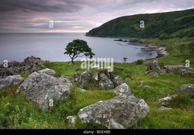 Murlough Bay at dusk, Co Antrim, Northern Ireland. - Stock-Bilder