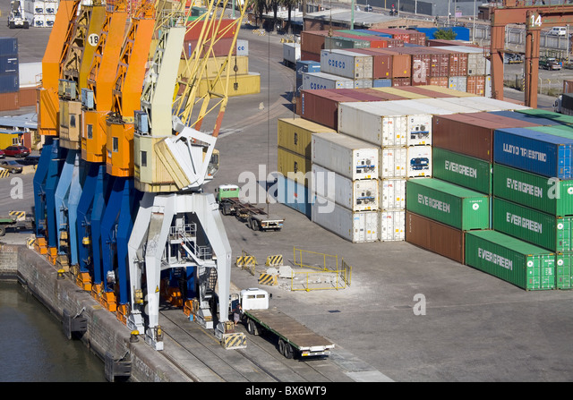 Container Port, Montevideo, Uruguay, South America - Stock Image