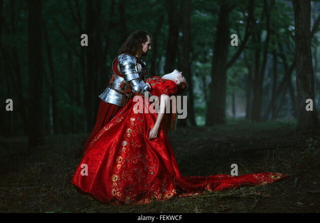Medieval knight with lady - Stock Image