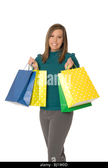 Attractive young woman with colorful shopping bags. - Stock Image