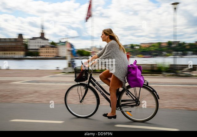 Cyclist in Stockholm Sweden - Stock Image