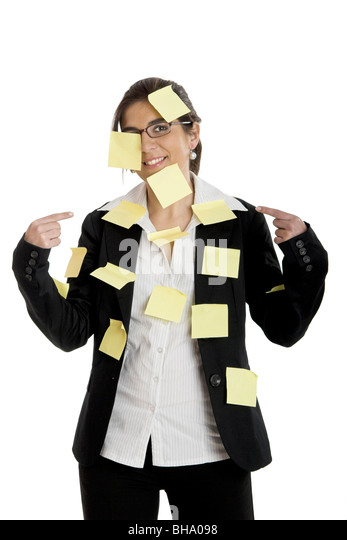business woman with posted notes stuck to her body - Stock Image