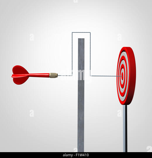 Around a barrier business concept as a red dart solving an obstacle problem by averting a wall and hitting the target - Stock-Bilder
