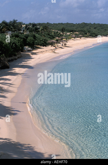 Anguilla beach above aerial deserted long sandy ideal beach - Stock Image
