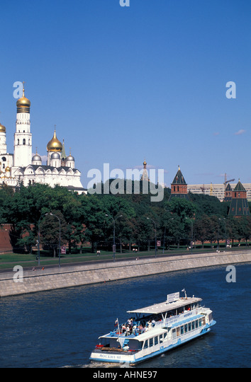 Moscow Russia Tour Boat on Moscow River going by Kremlin - Stock Image