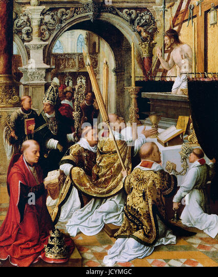 0Adriaen Ysenbrandt, The Mass of Saint Gregory the Great. Circa 1510-1550. Oil on panel. Getty Center, Los Angeles, - Stock Image