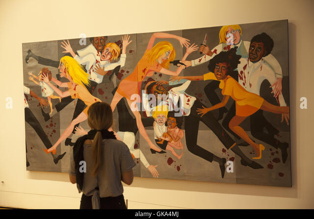 American People Series #20: Die, 1967. Oil on canvas, by Faith Ringgold, b. 1930. (Evokes US race riots from the - Stock Image