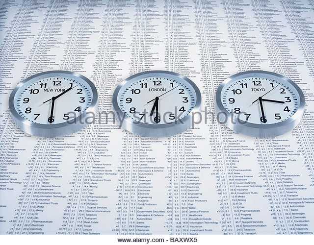 Time zone clocks on list of share prices - Stock Image