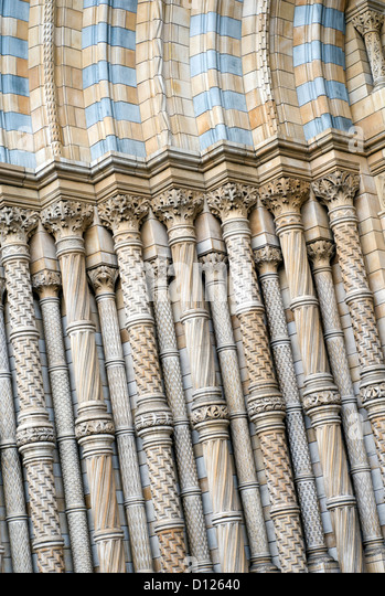 Architectural detail of the entrance to the Natural History Museum in South Kensington, London, England, UK - Stock Image