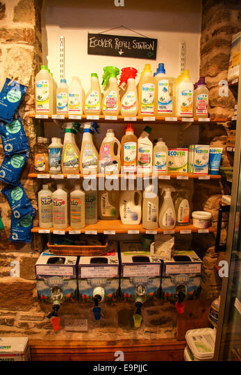 A display of Ecover environmentally friendly cleaning products and refill station at Field Fayre Organic shop Ross - Stock Image