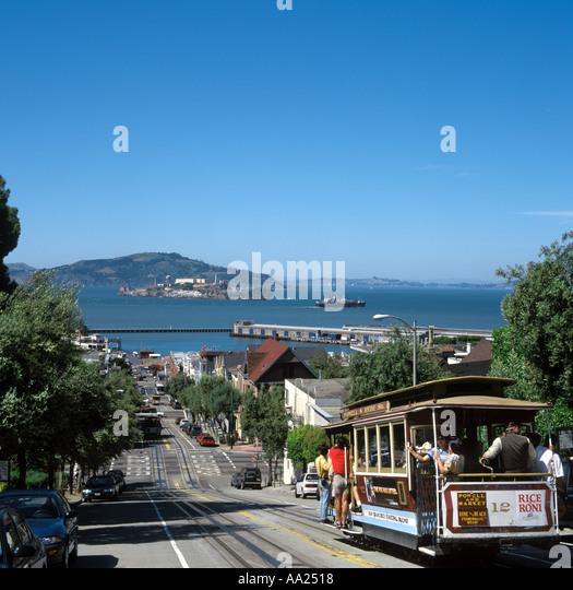 San Francisco Cable Car and Alcatraz from Hyde Street, San Francisco, California, USA - Stock Image
