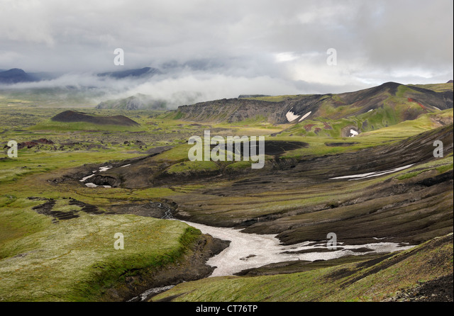 view at valley from Tolbachinsky Pass on Kamchatka - Stock Image