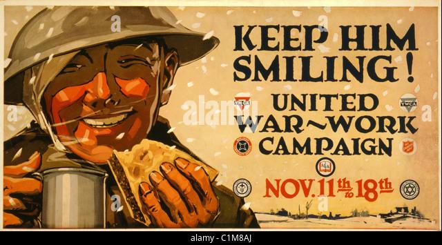 Wartime poster, Keep Him Smiling. - Stock Image