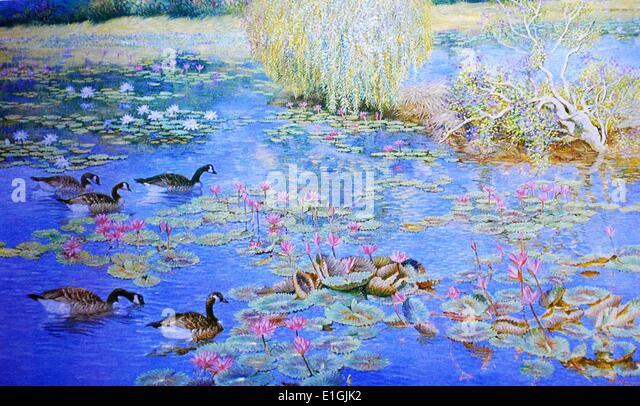Roberto Balajadia, Lotus, 1992. Oil on canvas. - Stock Image