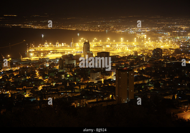 Haifa bay area at night - Stock Image