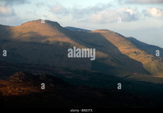 Sunset on the Moel Hebog mountains, near Beddgelert, Snowdonia, North Wales, UK - Stock Image