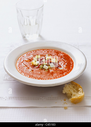 Plate of Andalucian soup - Stock Image