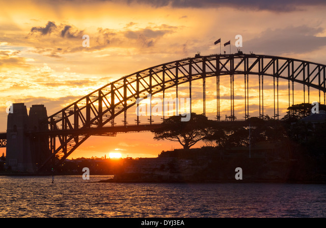 Sydney Australia NSW New South Wales Sydney Harbour Bridge harbor Climb Parramatta River water sunset - Stock Image