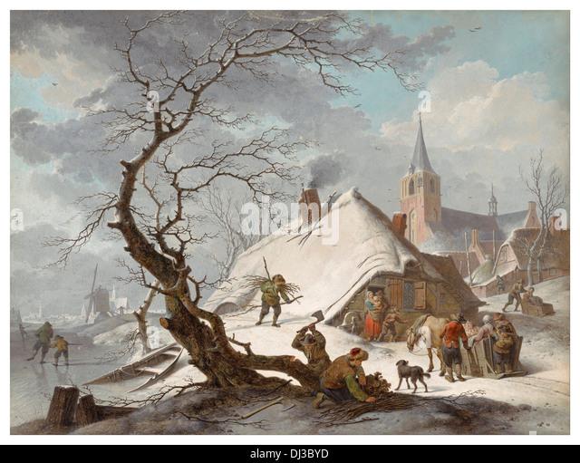 Watercolor by Hendrik Meyer of a fantasy perfect Dutch village in winter 1787 - Stock-Bilder