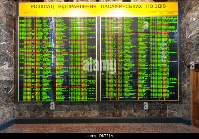 Train arrivals and departures board in the central train station in Kiev, the capital of Ukraine. - Stock-Bilder