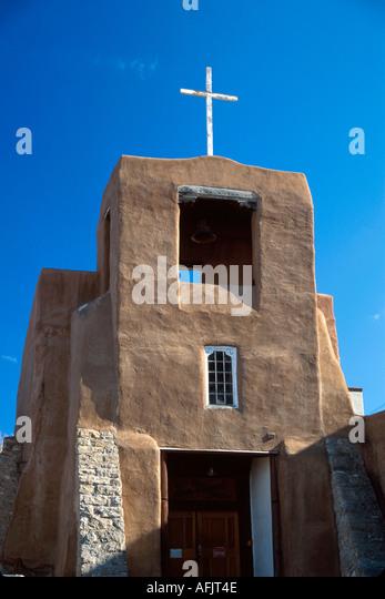 New Mexico Southwest Santa Fe San Miguel Chapel oldest UD church Pueblo style architecture NM NM - Stock Image